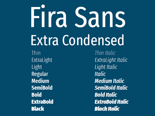Fira Sans Extra Condensed font download for Web or Photoshop