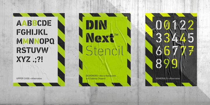 DIN Next Stencil font download for Web or Photoshop